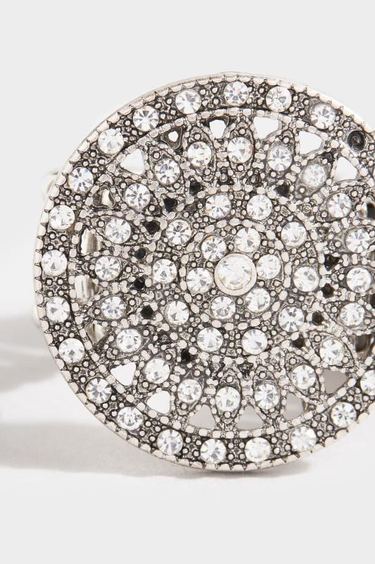 Silver Circular Diamante Ring