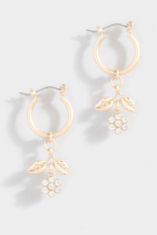 Plus Size Beauty Gold Diamante Flower Hoop Earrings
