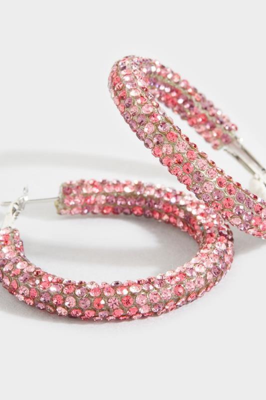 Steck-Creolen mit rosa Strass - Silberfarben