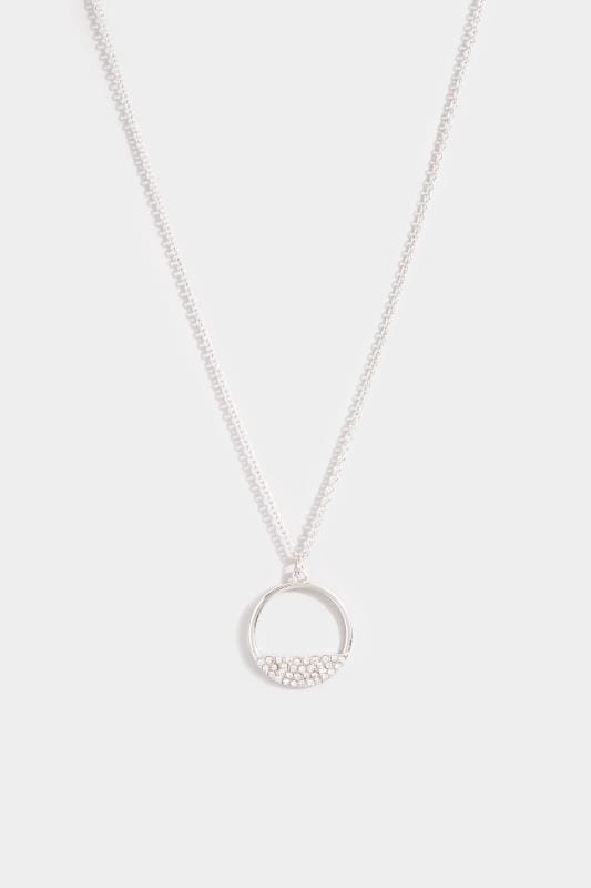 Silver Semi Circle Diamante Necklace