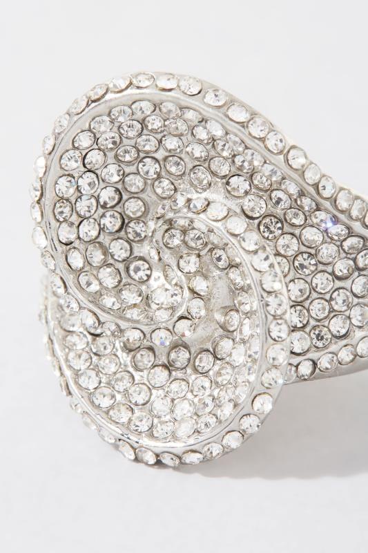 Silver Diamante Twist Stretch Ring