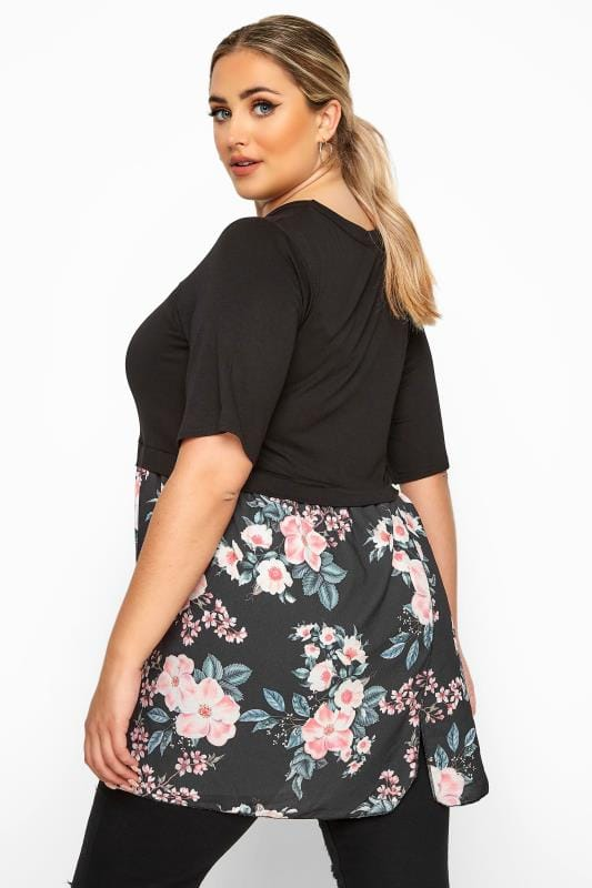 LIMITED COLLECTION Black Floral Wrap Hem Top