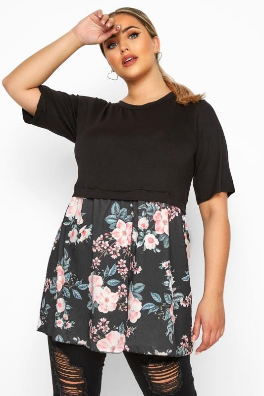 Plus Size Floral Tops LIMITED COLLECTION Black Floral Wrap Hem Top
