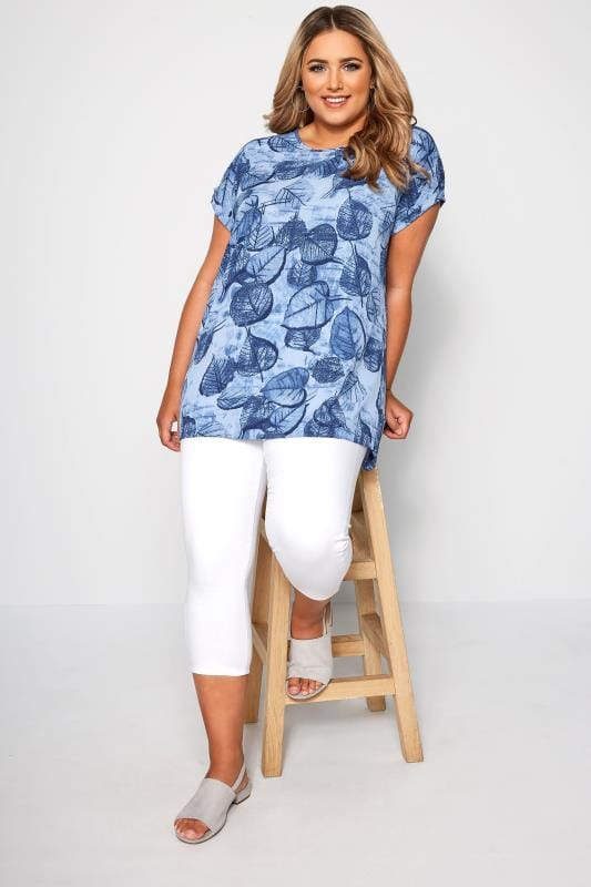 Blue Leaf Print Dipped Hem Top
