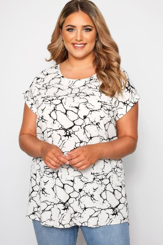 White Marble Print Dipped Hem Top