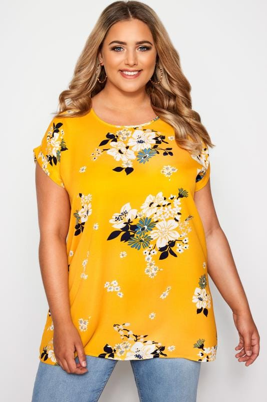 Plus Size Floral Tops Yellow Floral Print Dipped Hem Top
