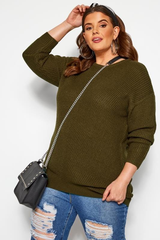 Plus Size Jumpers Khaki Green Chunky Knitted Jumper