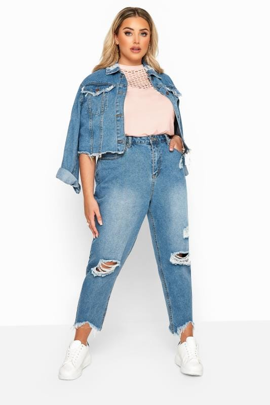 Plus Size Ripped Jeans Blue Distressed Mom Jeans