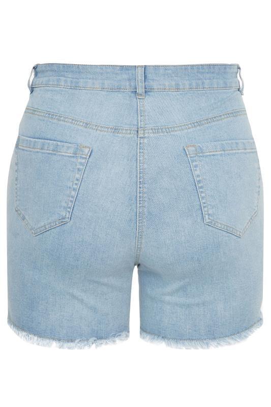 Light Blue Ripped Denim Shorts