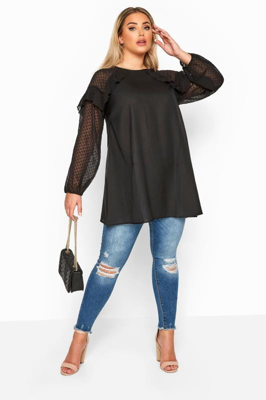 LIMITED COLLECTION Black Frill Dobby Mesh Sleeve Top