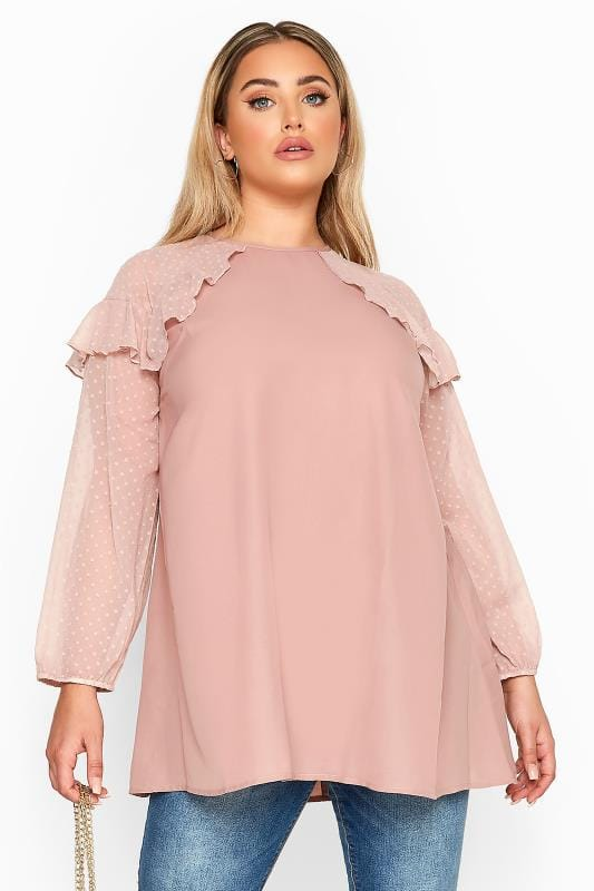 Plus Size Long Sleeve Tops LIMITED COLLECTION Pink Frill Dobby Mesh Sleeve Top