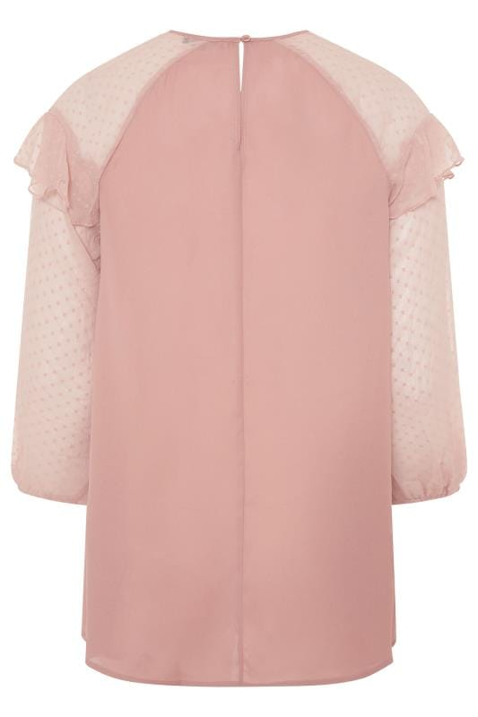 LIMITED COLLECTION Pink Frill Dobby Mesh Sleeve Top