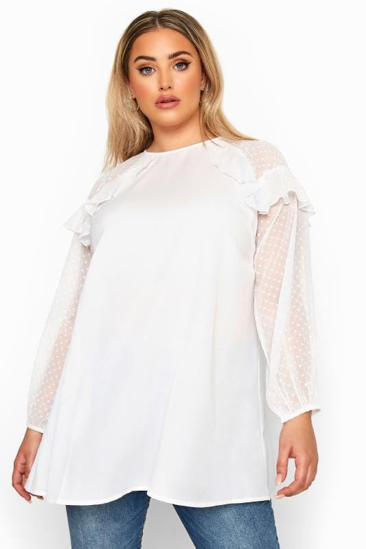 LIMITED COLLECTION White Frill Dobby Mesh Sleeve Top