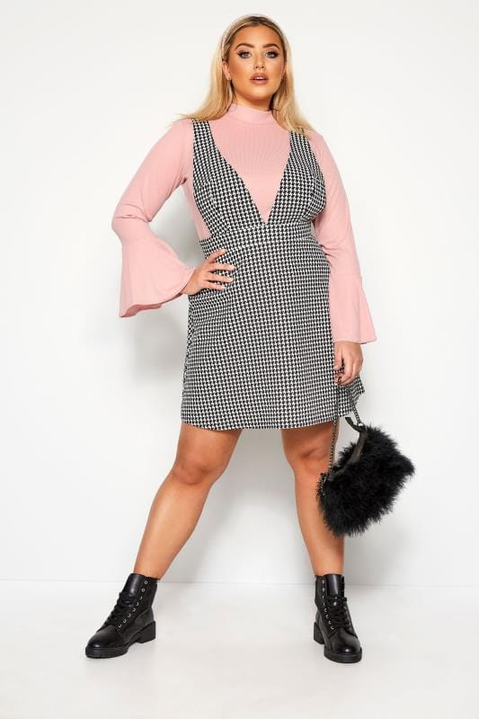 Plus Size Pinafore Dresses LIMITED COLLECTION Black & White Dogtooth Pinafore Dress