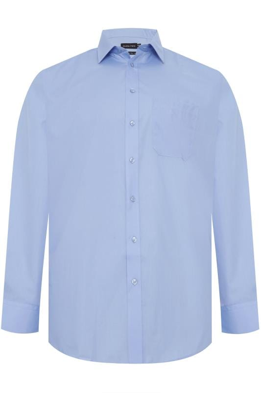 Großen Größen Gifts DOUBLE TWO Blue Non-Iron Long Sleeve Shirt
