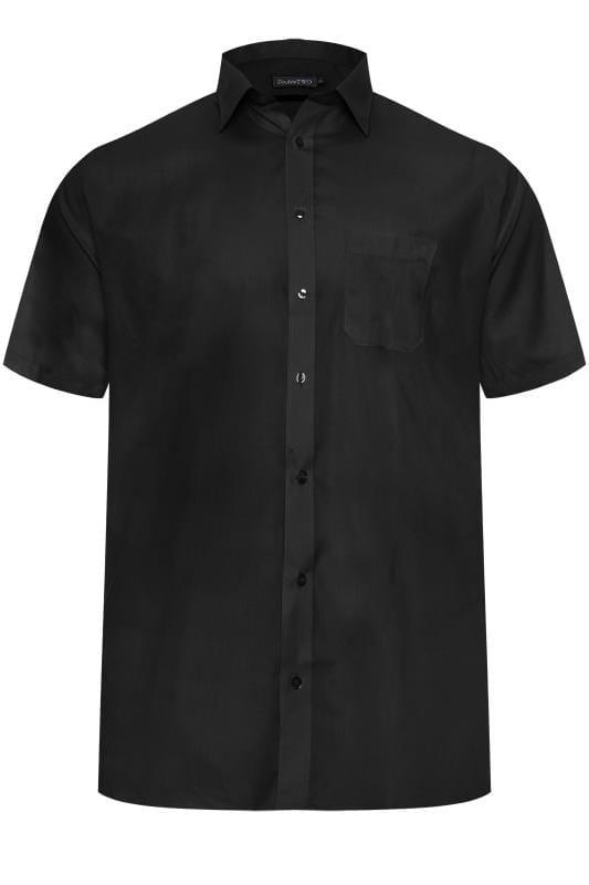Plus Size Casual / Every Day DOUBLE TWO Black Non-Iron Short Sleeve Shirt