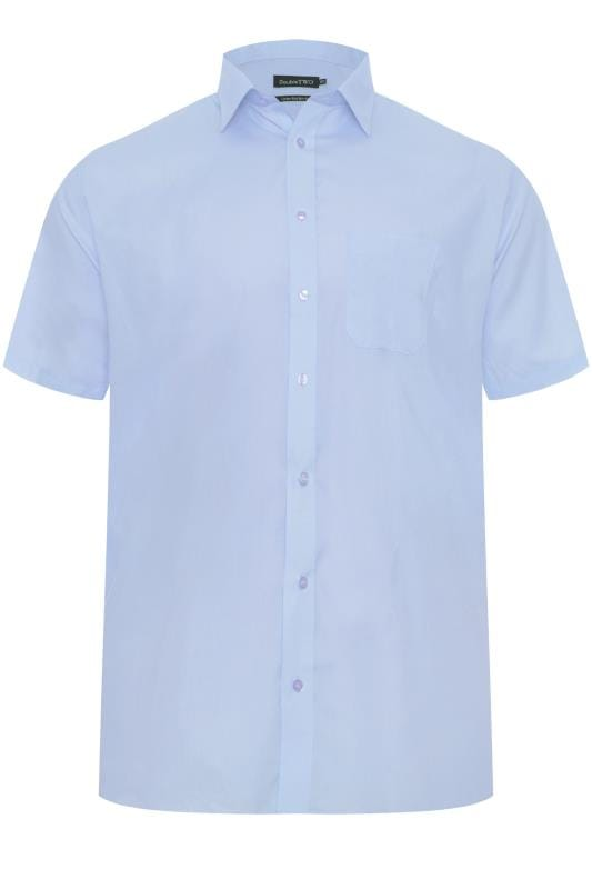 DOUBLE TWO Blue Non-Iron Short Sleeve Shirt