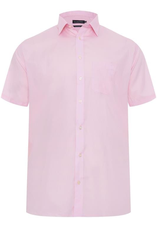 Plus Size Casual / Every Day DOUBLE TWO Pink Non-Iron Short Sleeve Shirt