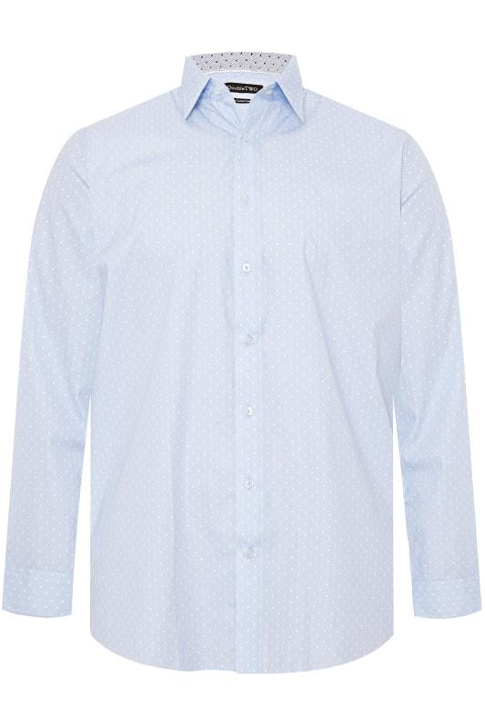 Casual / Every Day dla puszystych DOUBLE TWO Sky Blue Spot Non-Iron Long Sleeve Shirt