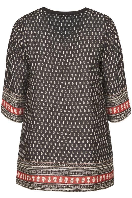 Black Tile Print Ribbed Neck Tunic