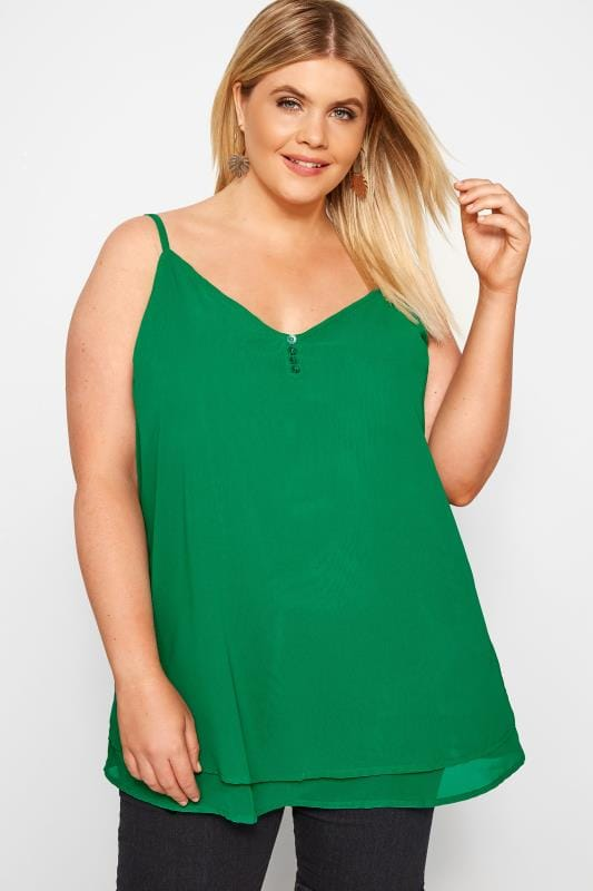 Plus Size Vests & Camis Green Double Layered Button Cami