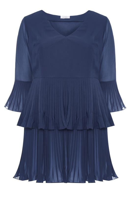 Plus Size Blouses YOURS LONDON Navy Double Layer Pleated Blouse