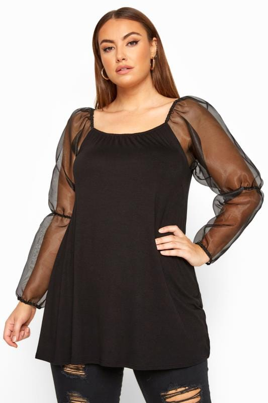 LIMITED COLLECTION Black Organza Puff Long Sleeve Top
