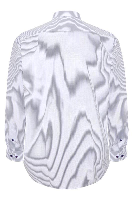 DOUBLE TWO White & Navy Pinstripe Non-Iron Long Sleeve Shirt