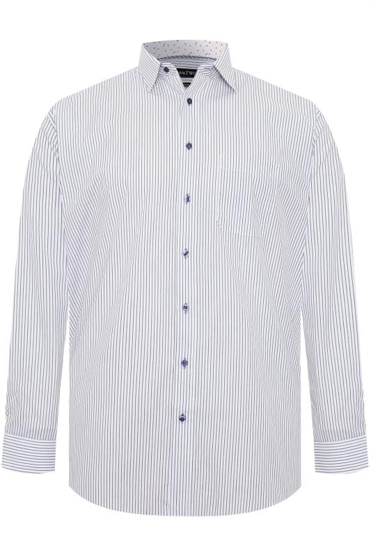 Plus Size Gifts DOUBLE TWO White & Navy Pinstripe Non-Iron Long Sleeve Shirt