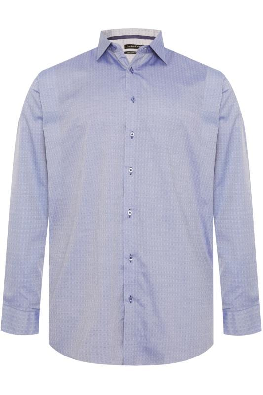 DOUBLE TWO Blue Square Non-Iron Long Sleeve Shirt
