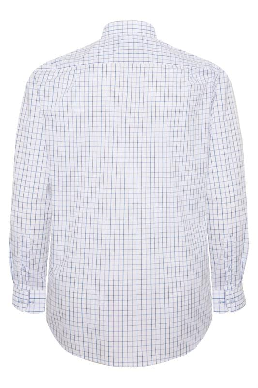DOUBLE TWO White & Blue Check Non-Iron Long Sleeve Shirt