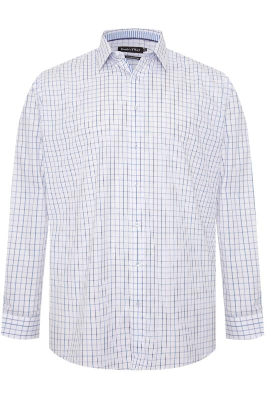 Plus Size Casual / Every Day DOUBLE TWO White & Blue Check Non-Iron Long Sleeve Shirt