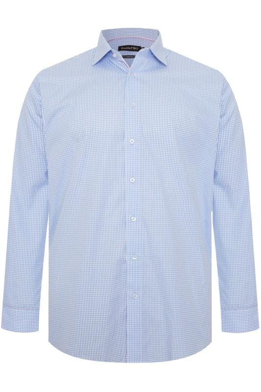 Smart Shirts DOUBLE TWO Sky Blue Gingham Check Non-Iron Long Sleeve Shirt 202170