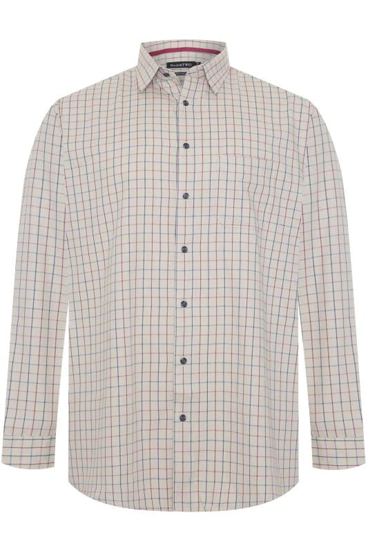 Plus Size Casual Shirts DOUBLE TWO Taupe Brushed Check Long Sleeve Shirt