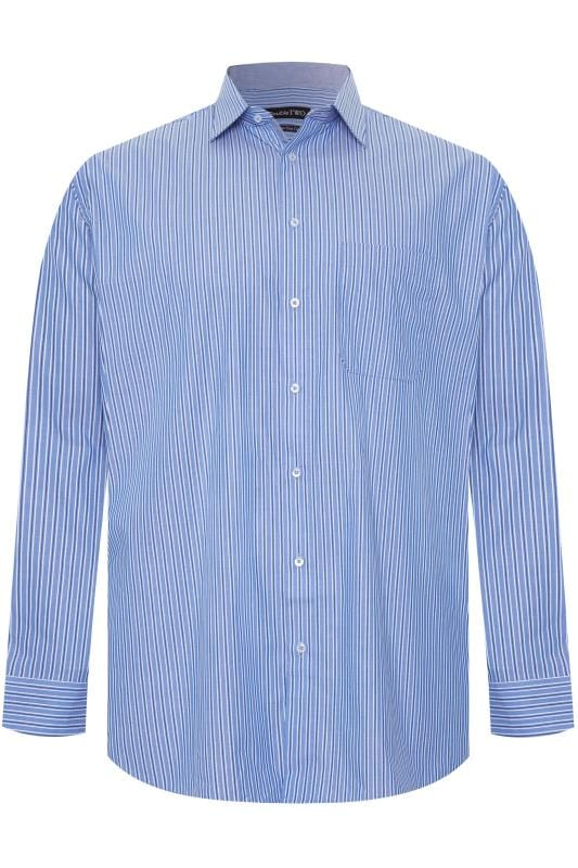 Gifts DOUBLE TWO Blue Stripe Non-Iron Long Sleeve Shirt