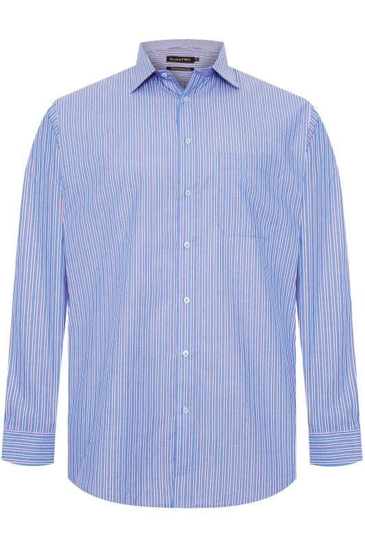 DOUBLE TWO Blue & Red Stripe Non-Iron Long Sleeve Shirt