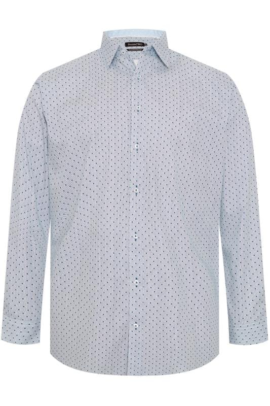 Plus Size Gifts DOUBLE TWO White & Navy Spot Non-Iron Long Sleeve Shirt