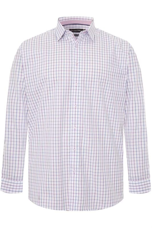 Gifts DOUBLE TWO White & Purple Check Non-Iron Long Sleeve Shirt