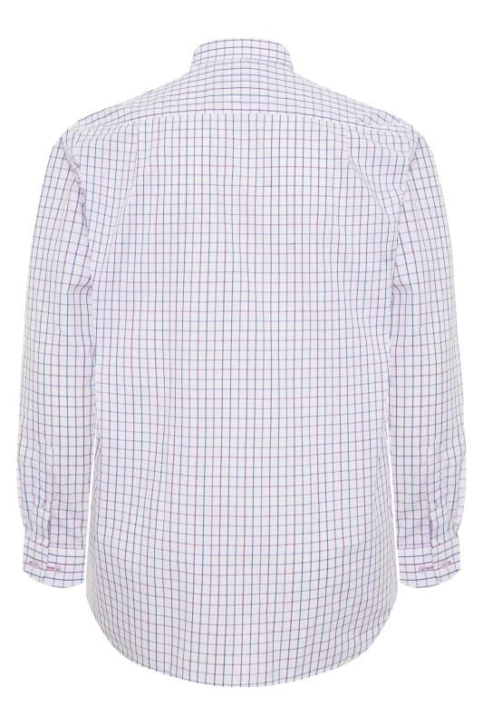 DOUBLE TWO White & Purple Check Non-Iron Long Sleeve Shirt