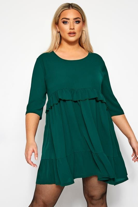 Plus Size Casual Dresses LIMITED COLLECTION Khaki Green Double Layer Smock Dress