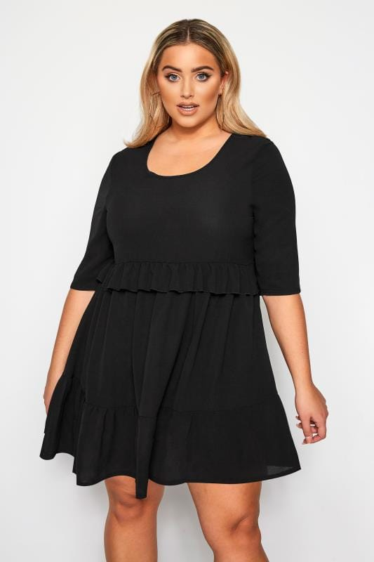 Plus Size Black Dresses LIMITED COLLECTION Black Double Layer Smock Dress