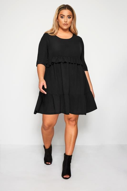 Plus Size Black Dresses LIMITED COLLECTION Black Double Layer Woven Smock Dress