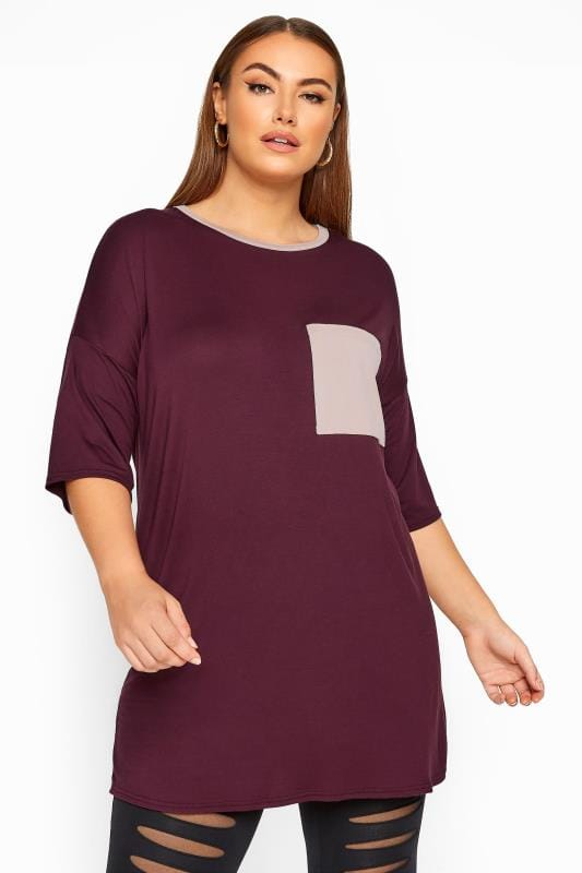 Plus Size T-Shirts LIMITED COLLECTION Plum & Pink Pocket Top