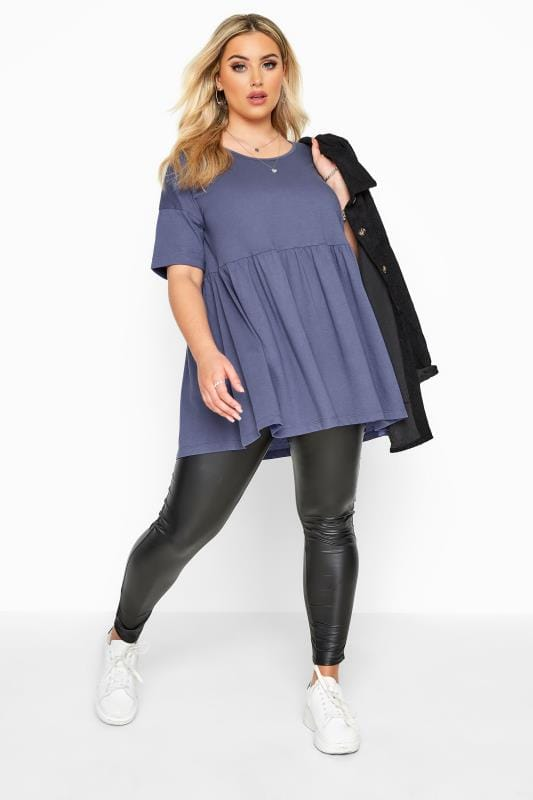 Blue Drop Shoulder Peplum Top