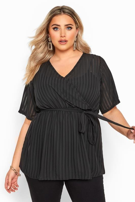 Plus Size Wrap Tops Black Chiffon Stripe Chiffon Wrap Top
