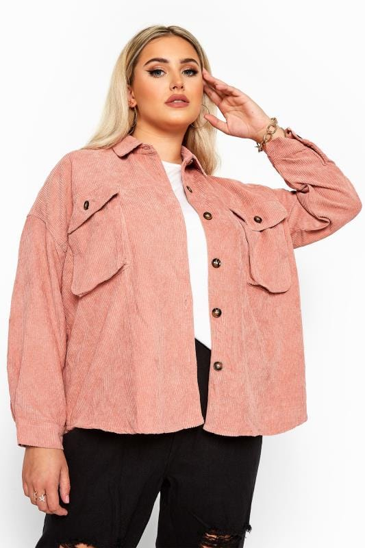 Plus Size Shirts Dusky Pink Cord Shacket