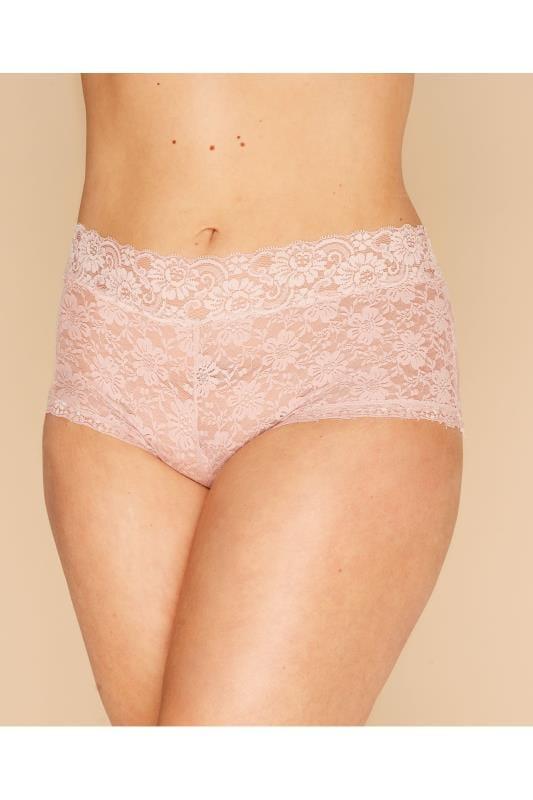 Plus Size Lingerie Shorts Dusky Pink Floral Lace Shorts