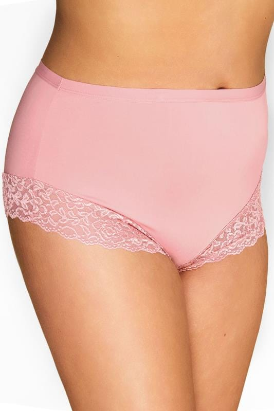 Plus Size Briefs & Knickers Dusky Pink Trim Briefs