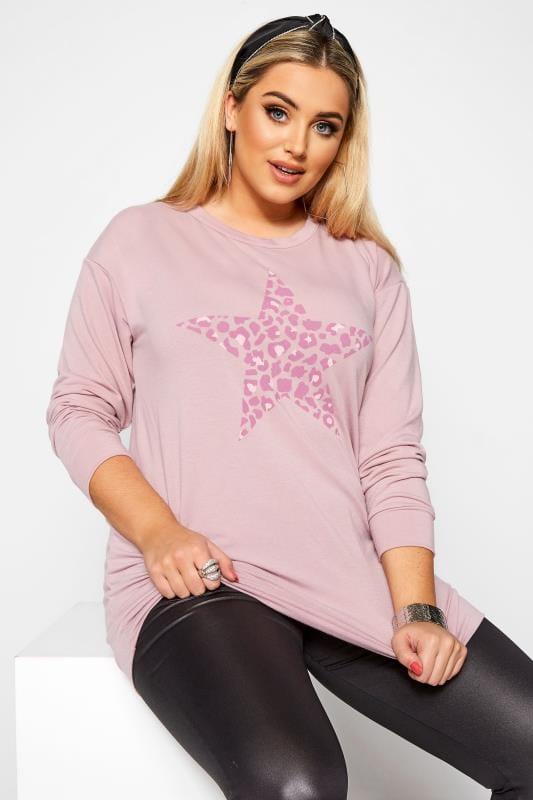 Plus Size Sweatshirts Dusty Pink Leopard Star Print Sweatshirt