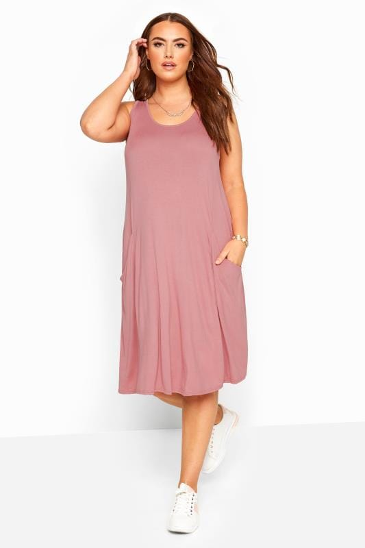 Plus Size Casual / Every Day Dusty Pink Sleeveless Drape Pocket Dress